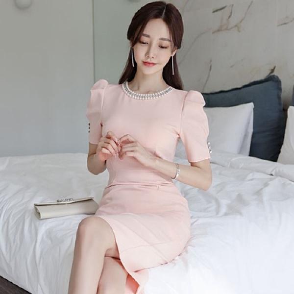 洋裝OL連身裙S-XL3251#韓版修身氣質圓領泡泡袖釘珠裝飾包臀顯瘦連身裙NA07B快時尚