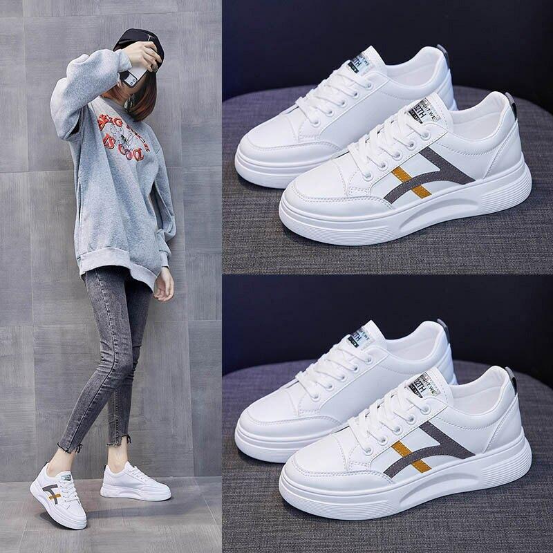 ins百搭小白鞋女2021春季新款韓版學生跑步板鞋女透氣休閒鞋787