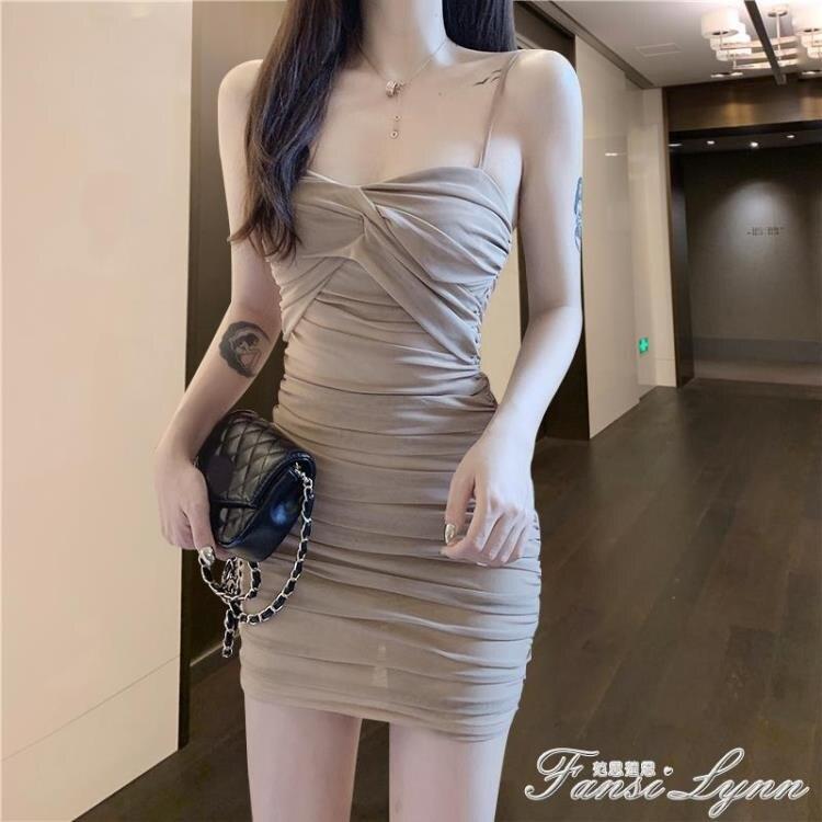 2021新款夜店女裝性感緊身吊帶遮肚子顯瘦褶皺氣質抹胸洋裝女夏  果果輕時尚