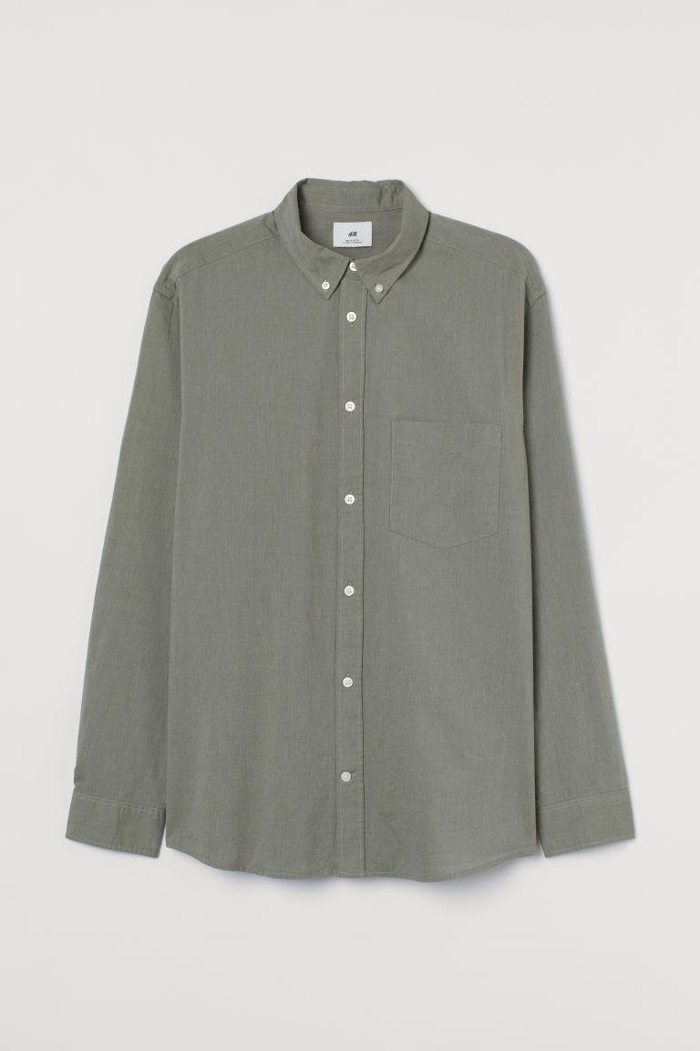 H & M - 標準剪裁棉質襯衫 - 綠色