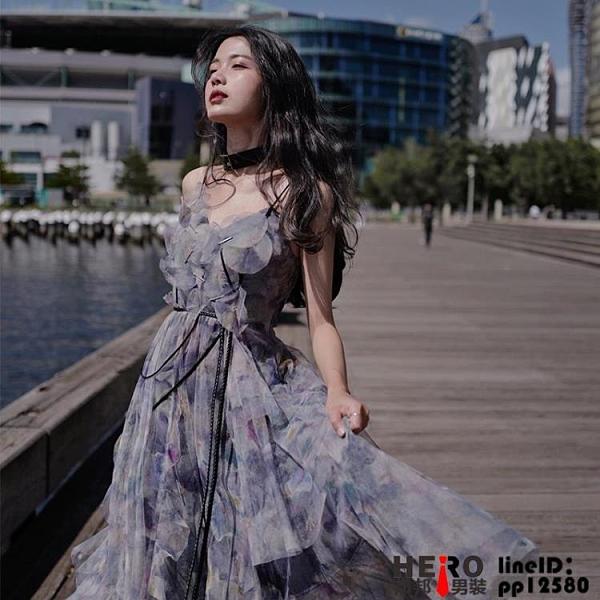 洋裝法式長裙女裝春夏仙女設計感小眾超仙吊帶連身裙品牌【邦邦男装】