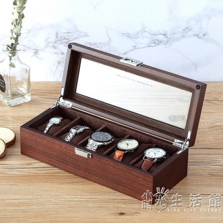 羅威木制手錶盒收納盒玻璃天窗木質展示盒家用儲藏盒手錶收藏盒子 摩可美家