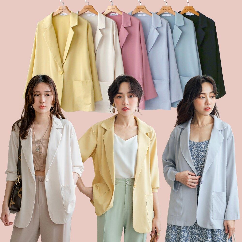 MIUSTAR 馬卡龍色系 單釦方口袋雪紡西裝外套(共6色)0420 預購【NJ1014】