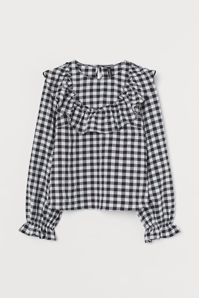 H & M - 荷葉邊女衫 - 黑色