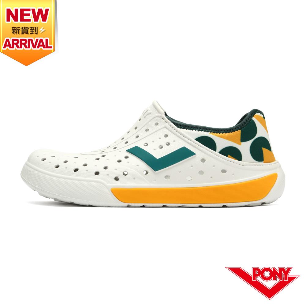 【PONY】ENJOY洞洞鞋 踩後跟 雨鞋 水鞋 中性款-幾何/黃綠