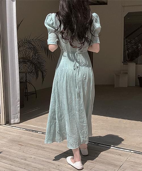 韓國空運 - Jenny Linen Sash Shoulder Pads Puff Long Dress 長洋裝