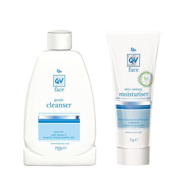 QV 意高舒敏無皂鹼洗卸潔顏乳+舒敏燕麥醯胺高效修復精華乳 合購