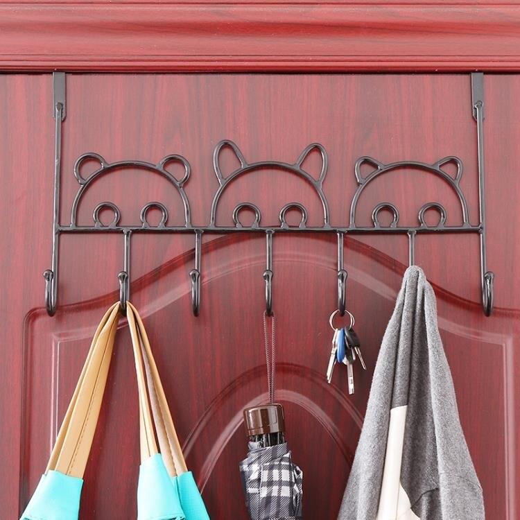 壁掛衣架 免打孔門後掛鉤強力黏膠承重置物架廚房牆上黏鉤壁掛衣服鉤掛衣架【幸福小屋】