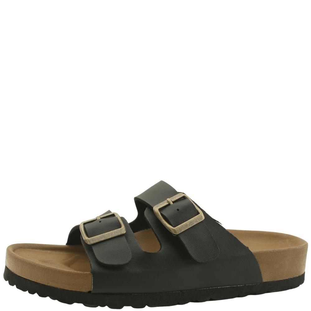 韓國空運 - Double Buckle Strap Soft Slippers Black 涼鞋