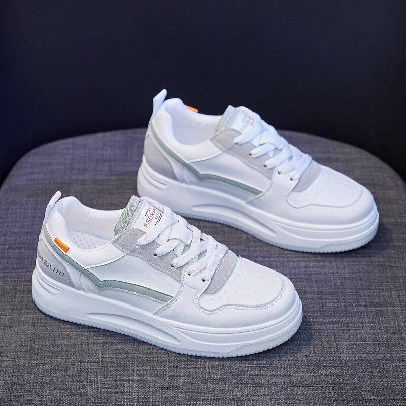ins韓版基礎小白鞋女2021春季新款百搭學生板鞋女厚底鬆糕鞋Q1606