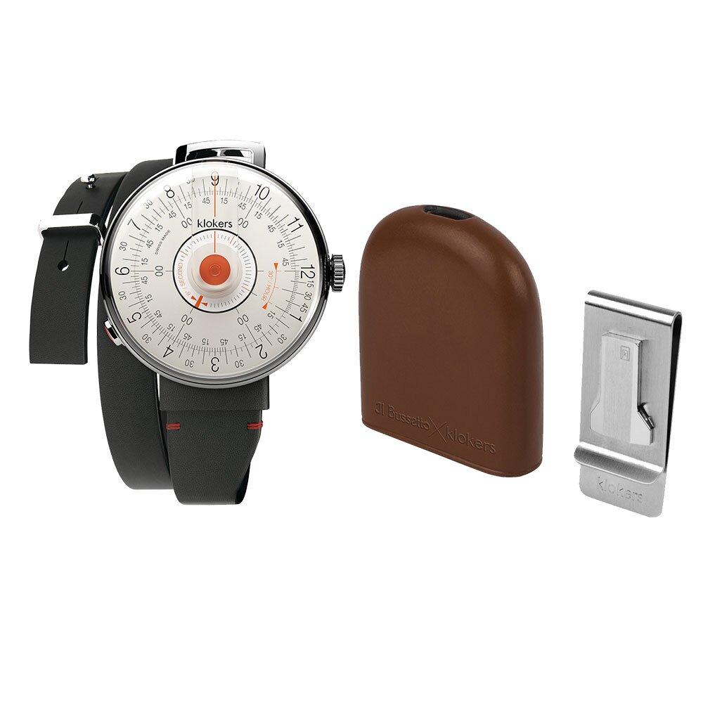 klokers【庫克錶】KLOK-08-D2 橘軸+IL BUSSETTO x KLOKERS BELL皮革懷錶套組 | 錶徑39mm