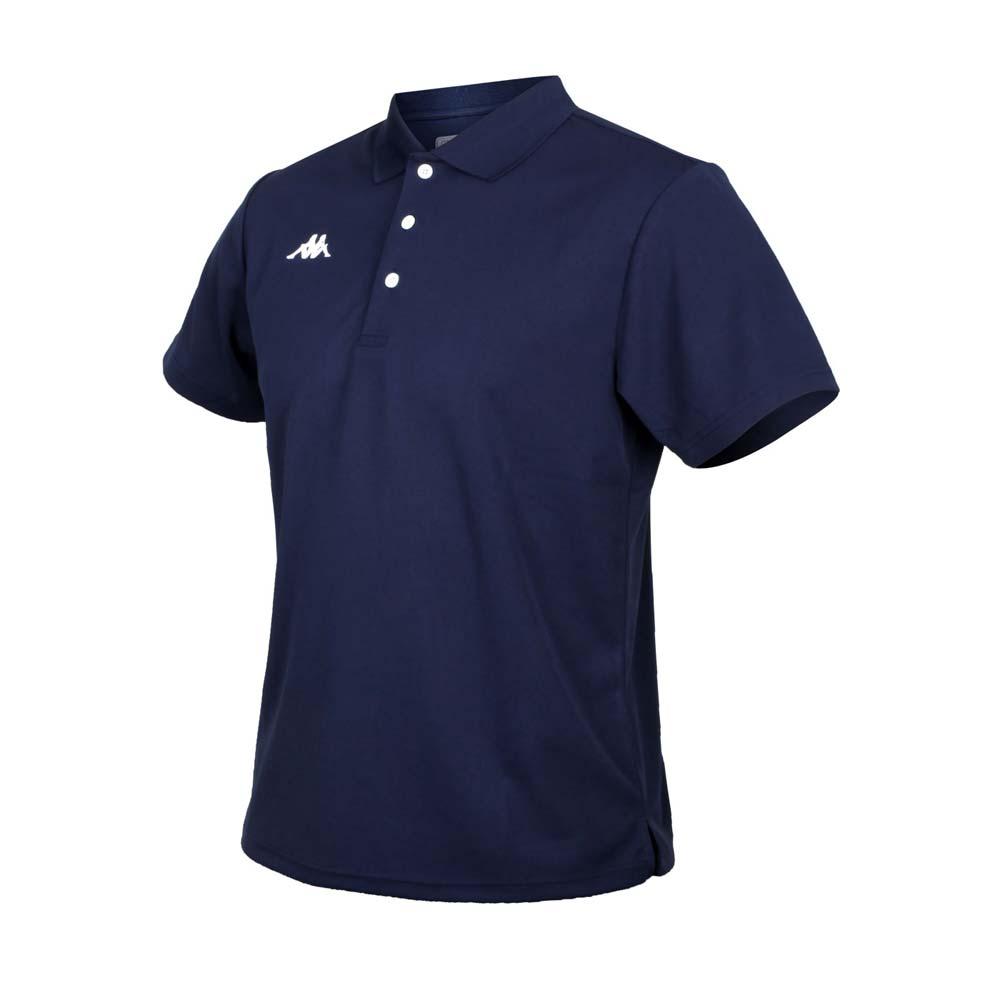 KAPPA 男K4T短袖POLO衫-台灣製 慢跑 高爾夫 網球 吸濕排汗 上衣 丈青白