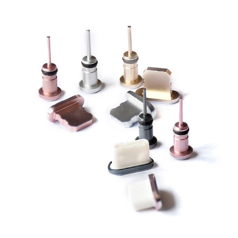 【兩件式防塵塞】 蘋果 / TYPE-C 耳機孔+充電孔 鋁合金防塵塞手機金屬耳機塞
