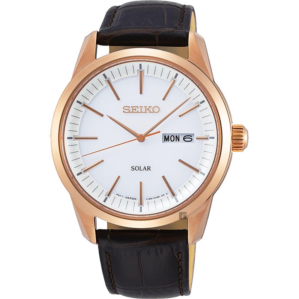 SEIKO精工 CS 太陽能SOLAR 手錶-銀x咖啡色錶帶/40mm V158-0BE0K(SNE530P1)