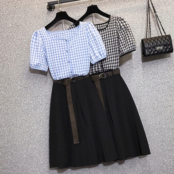 大碼洋裝連身裙L-4XL夏季胖mm時尚格子短袖上衣半身裙兩件套裝181834F093快時尚