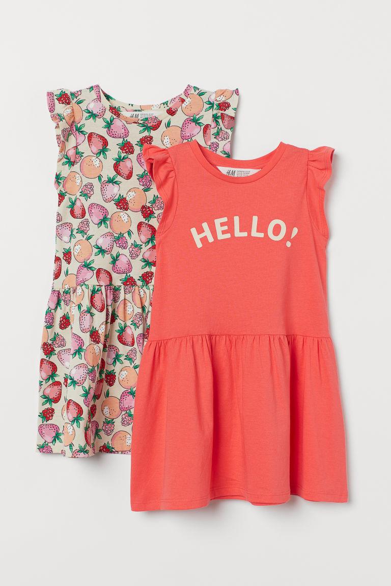 H & M - 2件入棉質洋裝 - 紅色