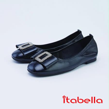 itabella氣質優雅蝴蝶結飾扣包鞋(1208-90黑色)