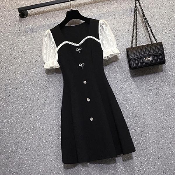 洋裝連身裙L-4XL18171夏季胖mm時尚遮肚顯瘦蝴蝶結網紗拼接連身裙4F093快時尚