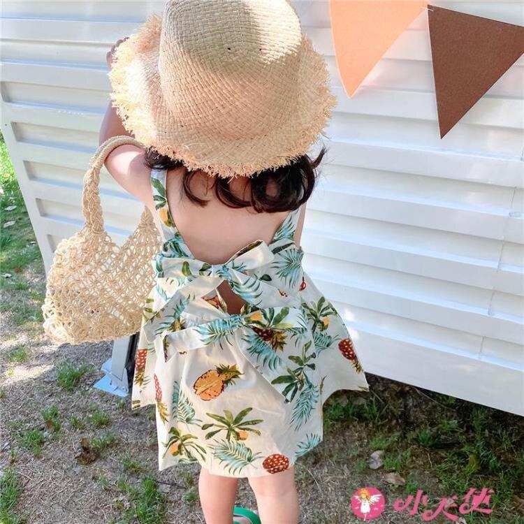 女童吊帶洋裝 女童吊帶連身裙子夏季純棉女寶韓版洋氣寶寶時尚款度假嬰幼兒童裝 摩可美家
