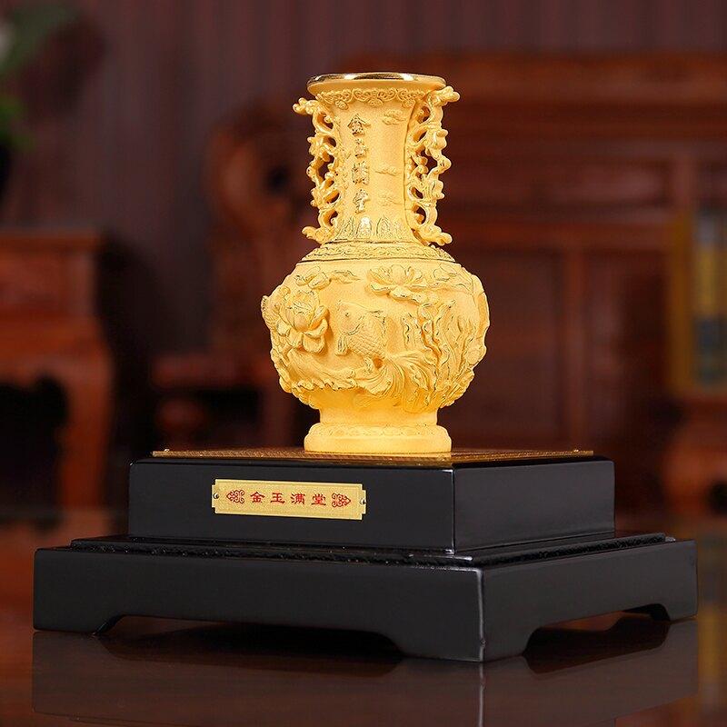 金玉滿堂絨沙金花瓶擺件工藝品新婚結婚禮品送朋友閨蜜婚禮紀念品HXJ1 愛尚優品