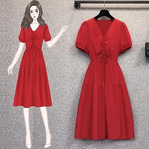 L-4XL大碼洋裝~18152#胖mm時尚收腰法式顯瘦氣質抽繩流行連身裙4F093胖妹大碼女裝