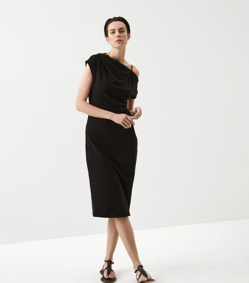 Brunello Cucinelli One-Shoulder Midi Dress