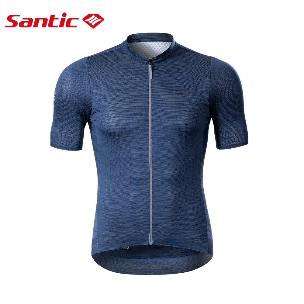 Santic夏季男士山地自行車騎行服公路自行車短袖襯衫全拉鍊透氣網眼反光自行車運動衫