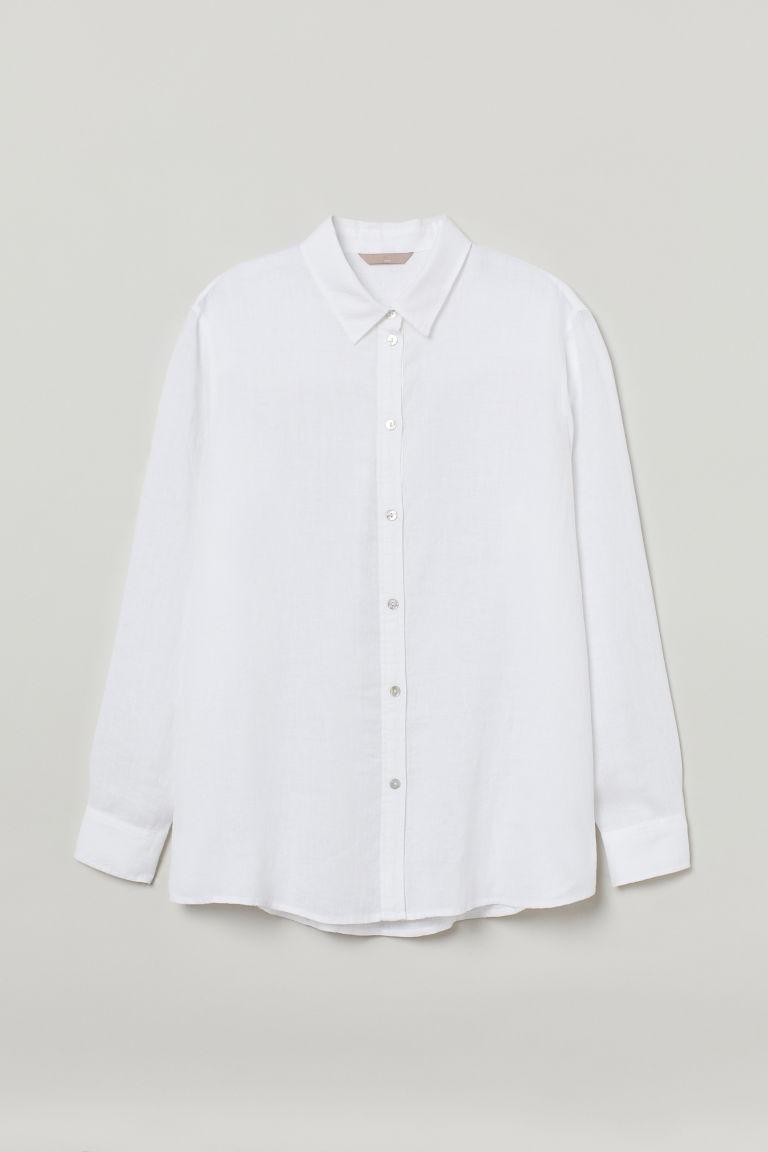 H & M - H & M+ 亞麻襯衫 - 白色