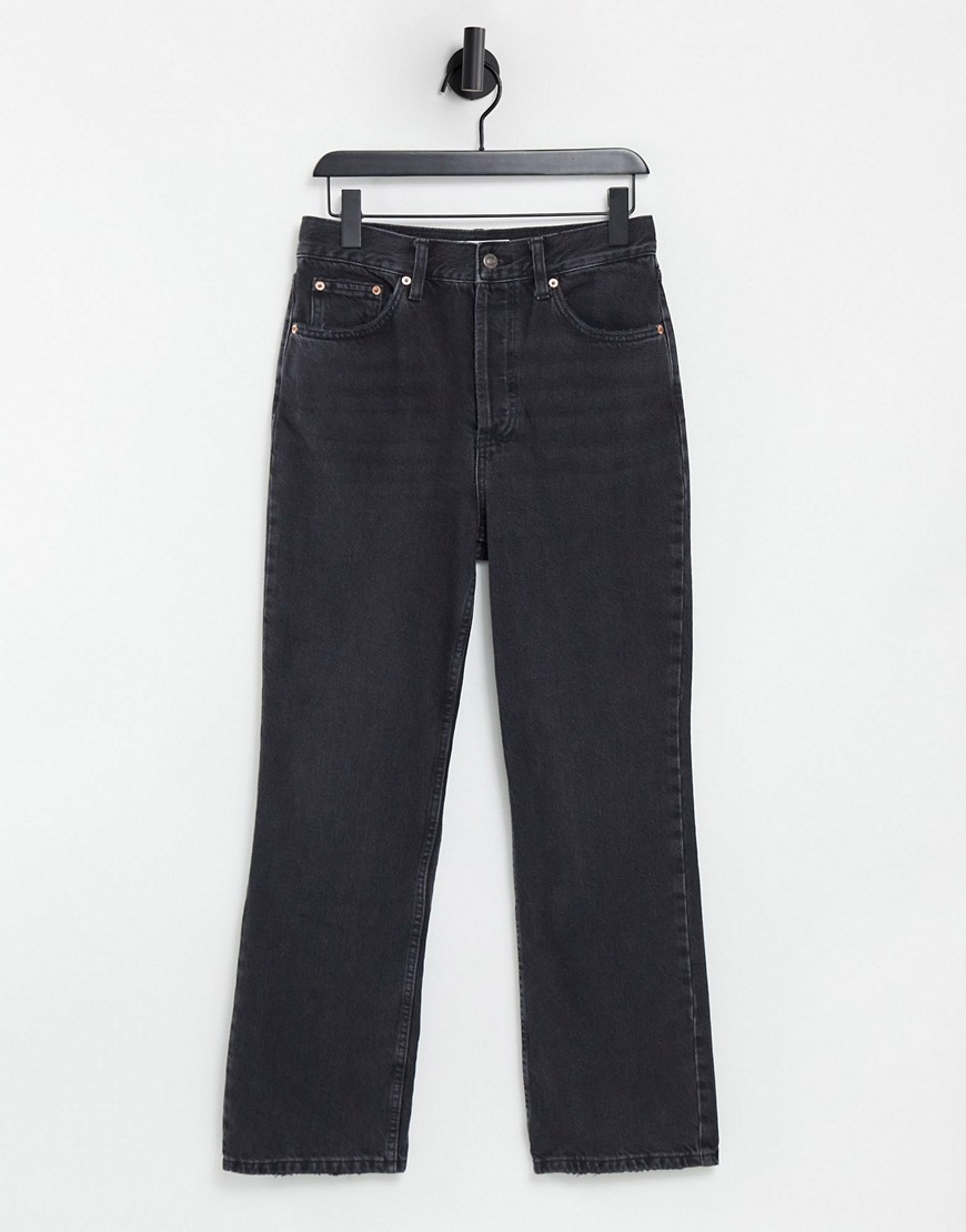 Topshop kort loose straight leg jeans in washed black
