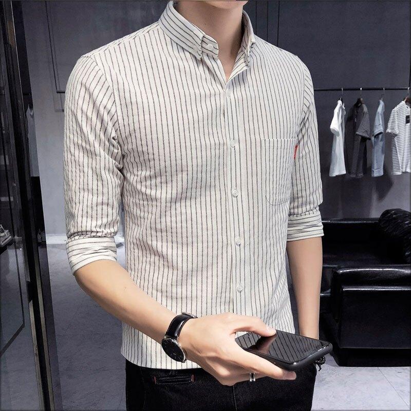 大尺碼五分袖襯衫‧單口袋細直條紋修身剪裁五分袖襯衫‧3色‧加大尺碼【NTJBCS54】-TAIJI-
