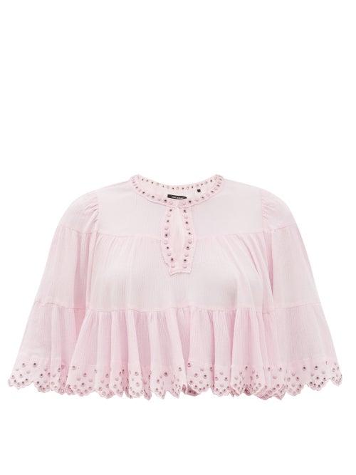 Isabel Marant - Lashay Studded Crepe Cape Top - Womens - Light Pink