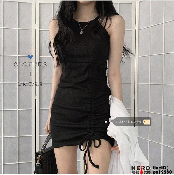 洋裝顯瘦抽繩黑色掛脖吊帶裙女裝裙子修身收腰氣質連身裙品牌【邦邦男装】