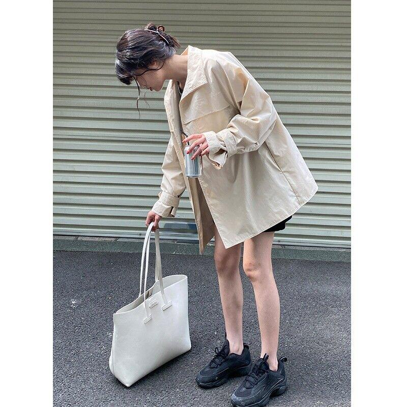 2021春夏新款韓版寬鬆簡約休閒小個子短款腰帶風衣外套女