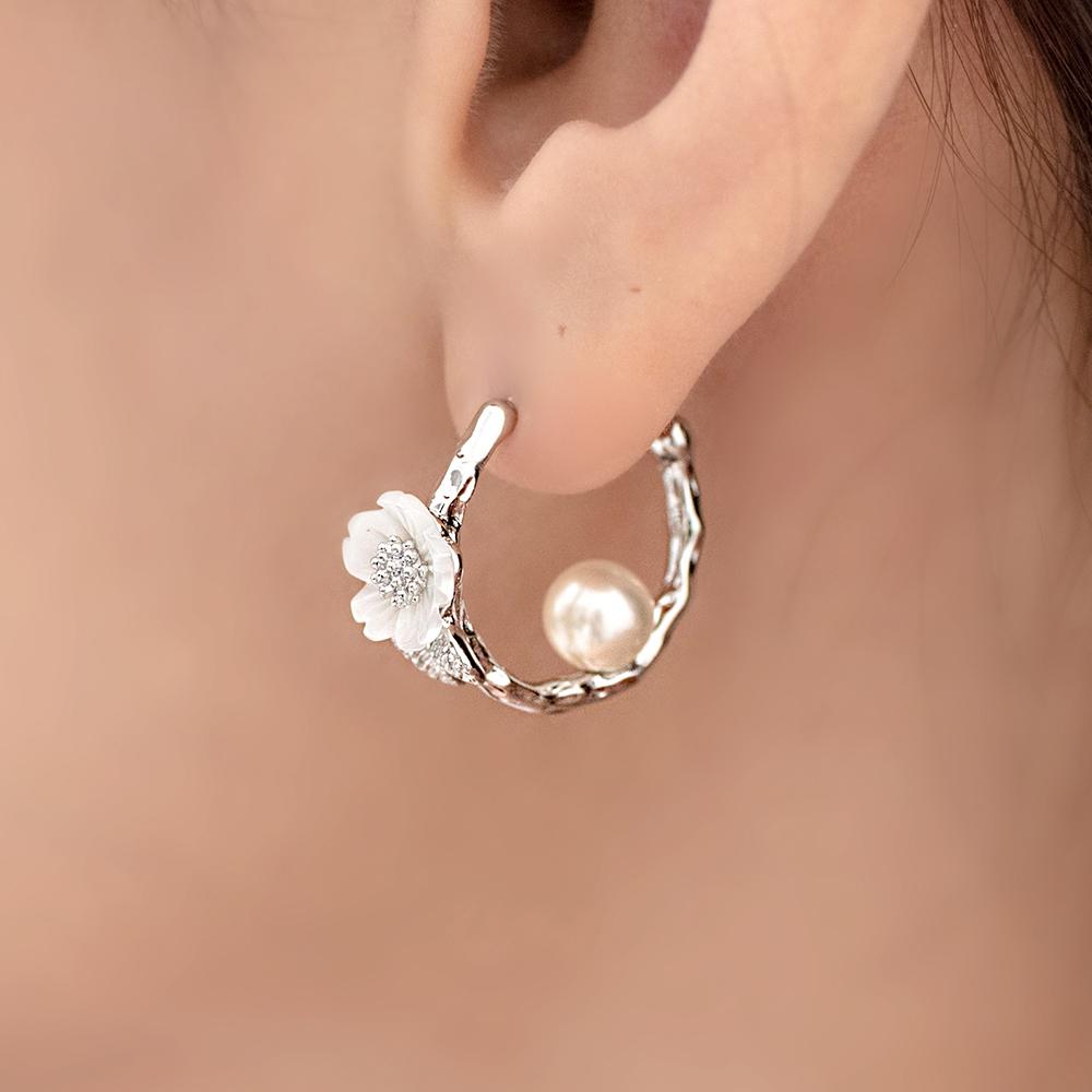 普羅旺斯小花C圈鈦針耳環(2色)-A20085