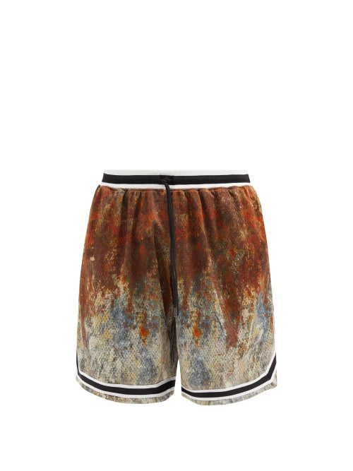 John Elliott - Game Tie-dyed Mesh Shorts - Mens - Brown Multi