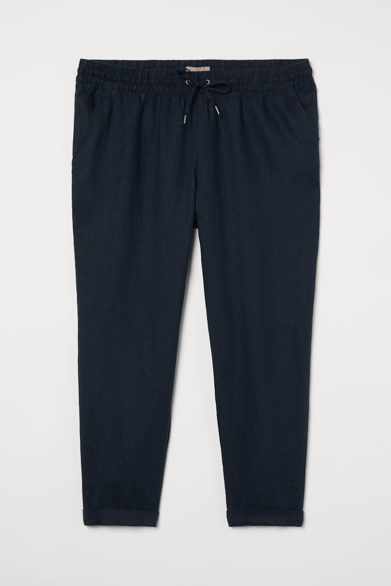 H & M - H & M+ 亞麻鬆緊式長褲 - 藍色
