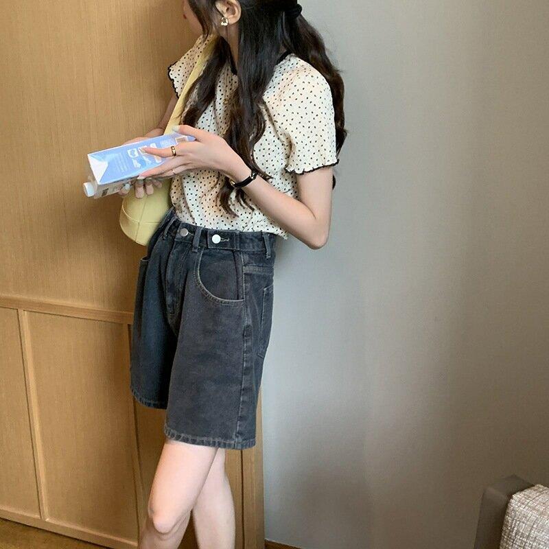 腰釦調節牛仔短褲女2021夏韓版高腰闊腿直筒小個子熱褲