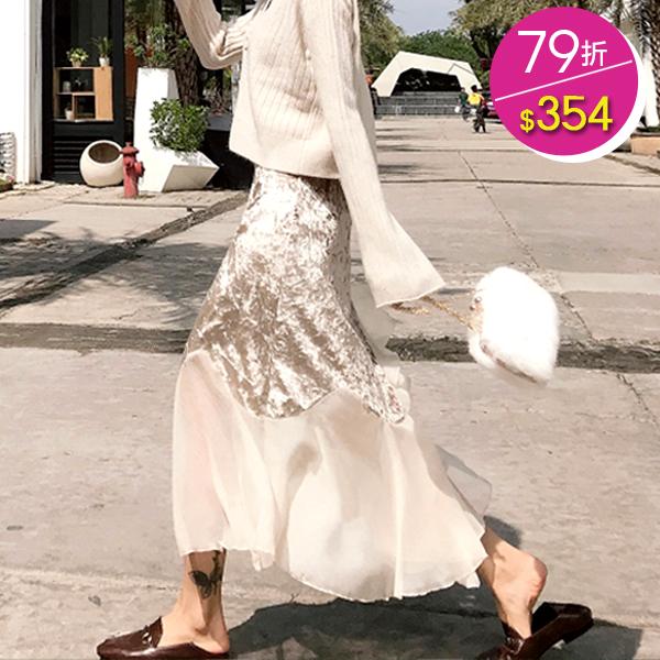 百搭絲絨拼接雪紡氣質高腰中長款不規則荷葉邊半身裙 VINASHOP 【現】SK190216
