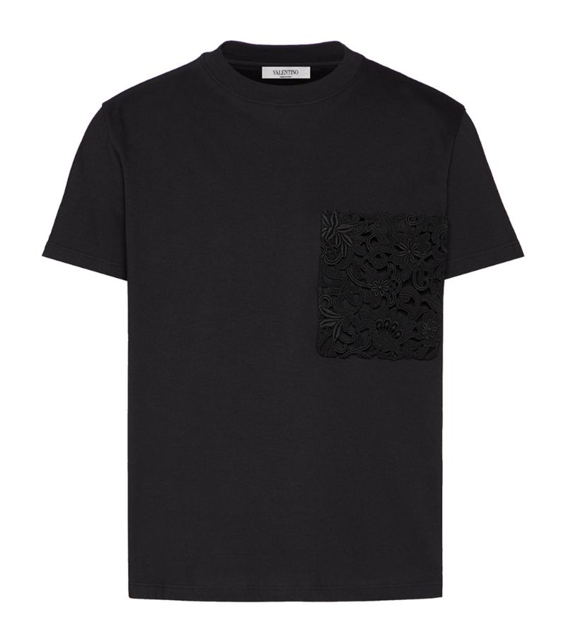 Valentino Lace-Pocket T-Shirt