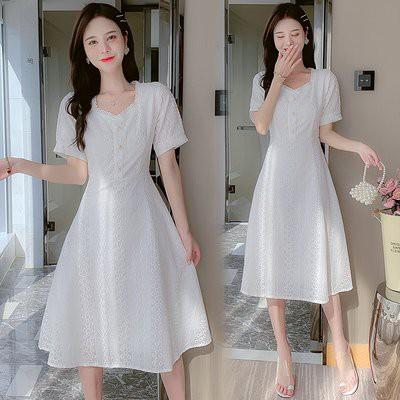 裙子 洋裝 伴娘裙實拍刺繡顯瘦高腰短袖甜美破洞仙女連衣裙T356F.8696愛尚依人