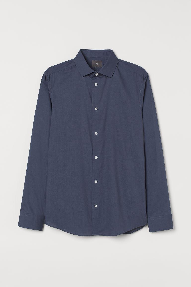 H & M - 貼身COOLMAX®纖維襯衫 - 藍色