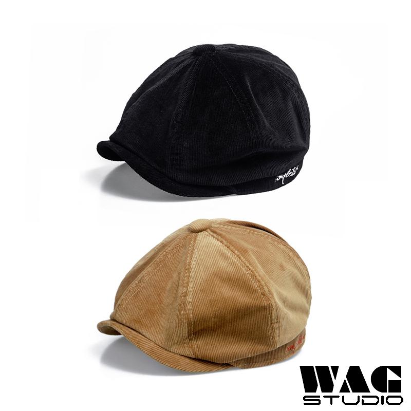 秋冬燈芯絨素面報童帽 原宿報童帽 素面報童帽 前進帽 小偷帽 英倫報童帽