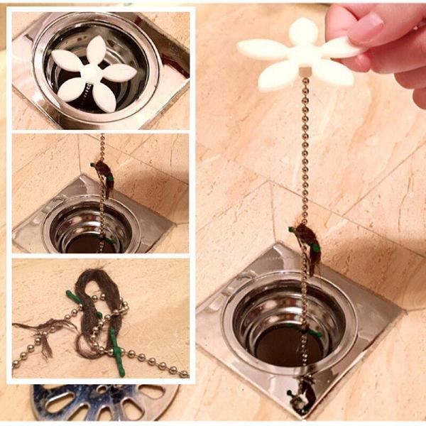 【DR227】小花毛髮清理器 毛髮清理神器 水管清理器 水槽清理器 疏通器 排水孔清潔 EZGO商城
