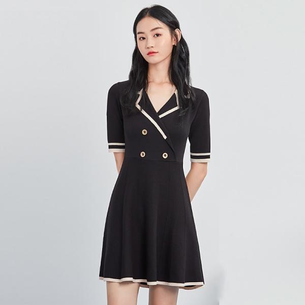 連身裙 氣質撞色拼接短袖洋裝PS9196-創翊韓都