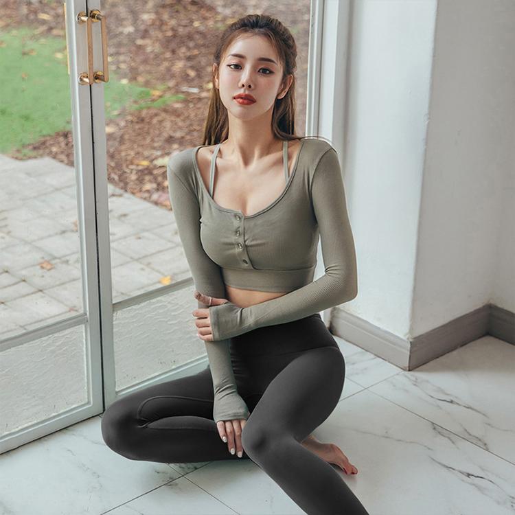 短版修身套指長袖運動瑜珈上衣(二色)【RCG130】