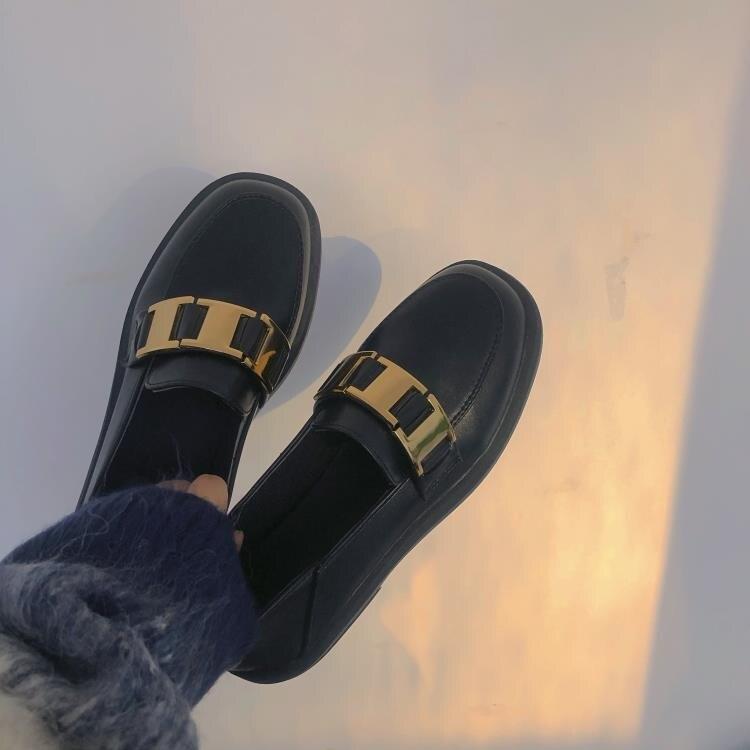 英倫風小皮鞋 平底日系英倫風小皮鞋女鞋子2021年春季新款復古配裙子jk鞋樂福 果果輕時尚