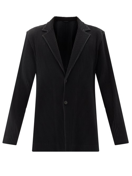 Homme Plissé Issey Miyake - Single-breasted Technical-pleated Knit Blazer - Mens - Black