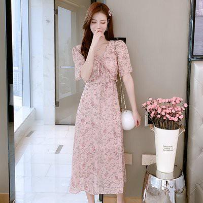 裙子 洋裝 伴娘裙實拍短袖甜美優雅系帶女收腰系帶桔梗裙 連衣裙T356F.8315愛尚依人