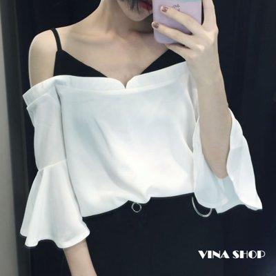 韓版假兩件一字領五分喇叭袖性感雪紡棉衫上衣黑白兩色  vina shop 【現】TOP7434
