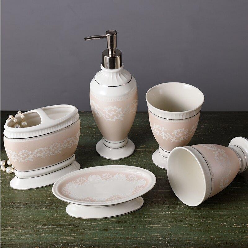 歐式簡約陶瓷衛浴五件套創意衛生間漱口杯浴室牙缸杯洗漱杯套裝